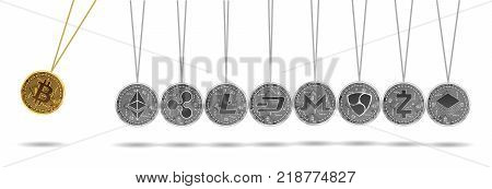 Newton cradle made of gold bitcoin and silver crypto currencies isolated on white background. Bitcoin acceleration of other crypto currencies. Vector illustration. Use for logos, print products