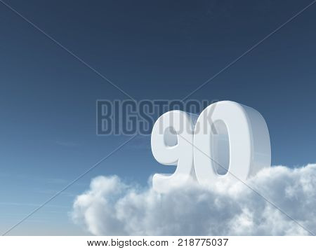 number ninety on clouds - 3d rendering