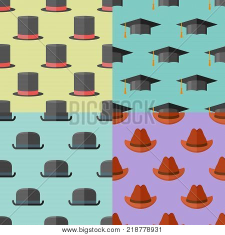 Set of seamless patterns with hats. Vector textures with top hat, bowler, graduation cap and cowboy hat.