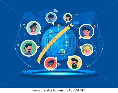 Global communication worldwide. People communicate at a distance. People communicate at distance. Vector flat illustration