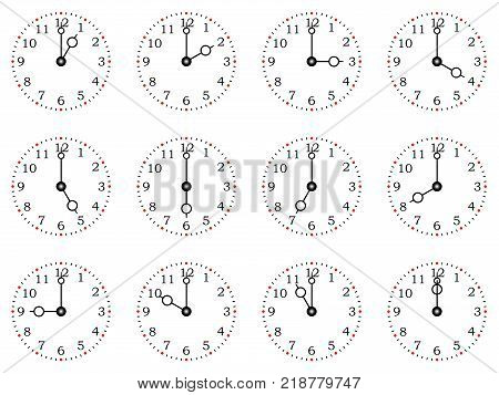 Clock or dial face with all twelve full times on a isolated white background