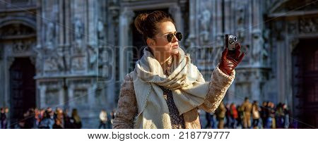 Rediscovering Things Everybody Love In Milan. Full Length Portrait Of Smiling Modern Traveller Woman