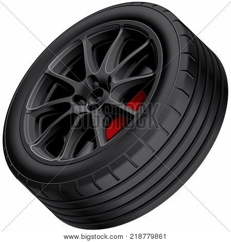 High quality vector illustration of black alloy wheel isolated on white background. File contains gradients blends and transparency. No strokes. Easily edit: file is divided into logical groups.