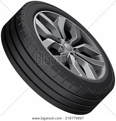 High quality vector illustration of light alloy wheel isolated on white background. File contains gradients blends and transparency. No strokes. Easily edit: file is divided into logical groups.