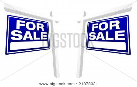 Pair of Blue For Sale Real Estate Signs in Perspective. Please see my variations on this theme - more vector Real Estate signs.