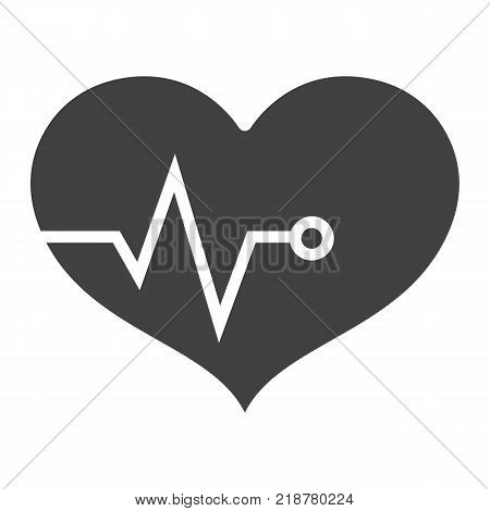 Heart pulse glyph icon, fitness and sport, heartbeat sign vector graphics, a solid pattern on a white background, eps 10.