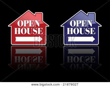 Sinais de vermelho e azul casa aberta ou botões. Por favor, veja meus variações sobre este tema - vector mais Real