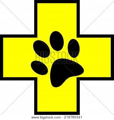 yellow animal help cross first aid symbol