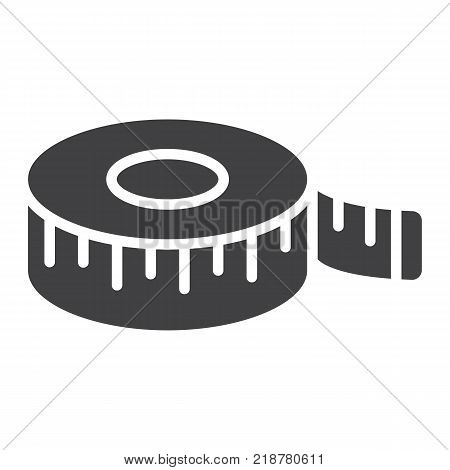 Measure tape glyph icon, centimeter and size, fitness ruler sign vector graphics, a solid pattern on a white background, eps 10.