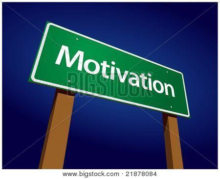 Motivation Green Road Sign Illustration on a Radiant Blue Background.