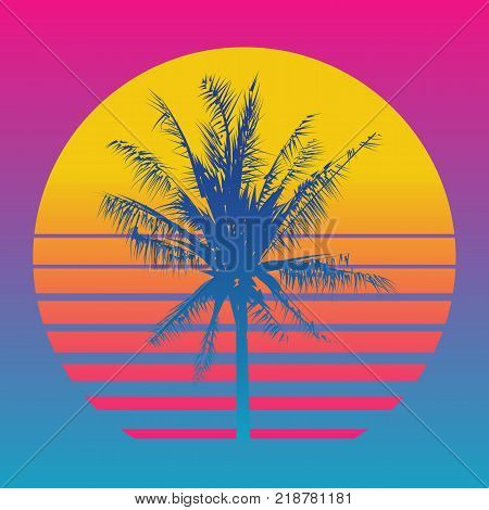 Palm tree silhouettes on a gradient background sunset. Style of the 80's and 90's, web-punk, vaporwave.
