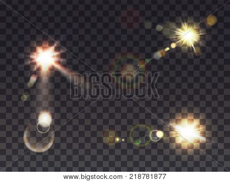 Bright luminous sun with light effect, sunshine with lens flare, set realistic vector illustrations on transparent background. Solar white flash with golden rays, design element