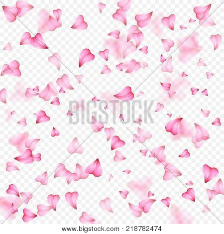 Valentines Day romantic background of pink hearts petals falling. Realistic flower petal in shape of heart confetti. Love theme. Wedding item. Decor element for greeting cards or gift packages.