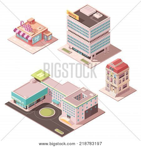 Set of isometric buildings including cafe, office center, residential house, hospital with helicopter pad isolated vector illustration