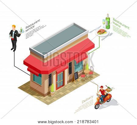 Cafe infographic composition with isometric image of coffee house with delivery boy and waiter human characters vector illustration