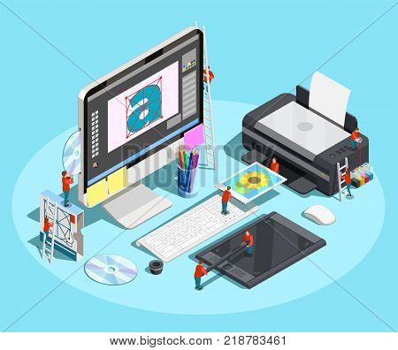 Graphic design isometric conceptual composition with workplace of designer and little people on computer printer and tablet vector illustration