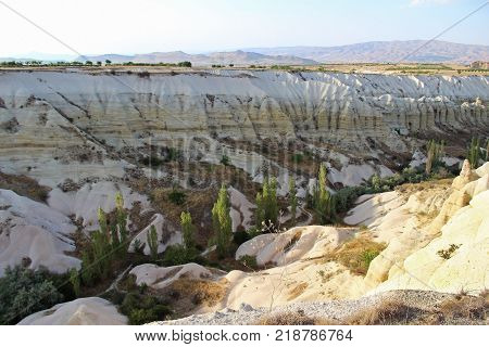 Colorful natural valley with volcanic tuff stone rocks in Goreme in Cappadocia Central Anatolia region of Turkey. Popular tourist destination in Turkey for trekking.