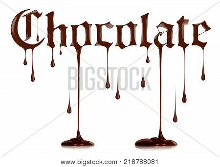 Word Chocolate written with liquid chocolate in a gothic style on a white background.3d illustration