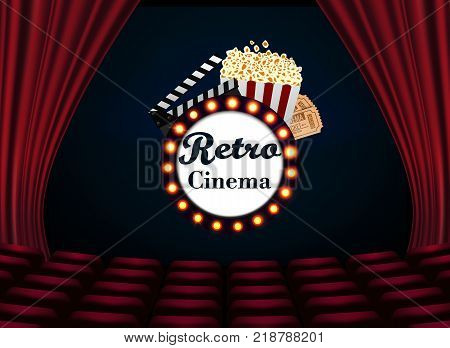 Movie theater with row of red seats popcorn and tickets. Premiere event template Retro Cinema. Super Show design.