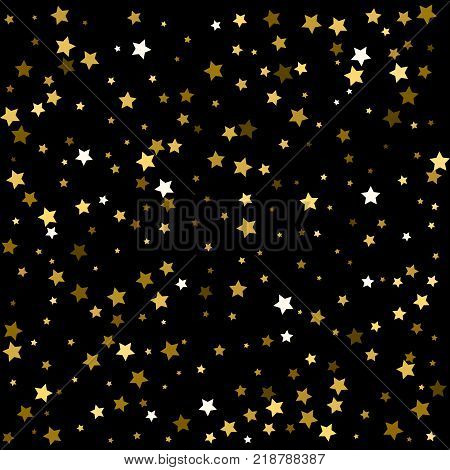 Holidays Gold Stars Confetti Falling, Holidays Vector Background