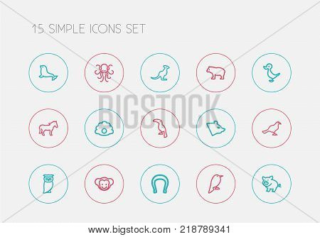 Set of 15 editable animal icons line style. Includes symbols such as philomel, polar, steed and more. Can be used for web, mobile, UI and infographic design.