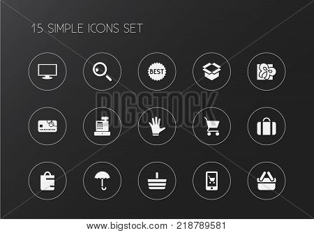Set of 15 editable shopping icons. Includes symbols such as box clear, till, giftbox and more. Can be used for web, mobile, UI and infographic design.
