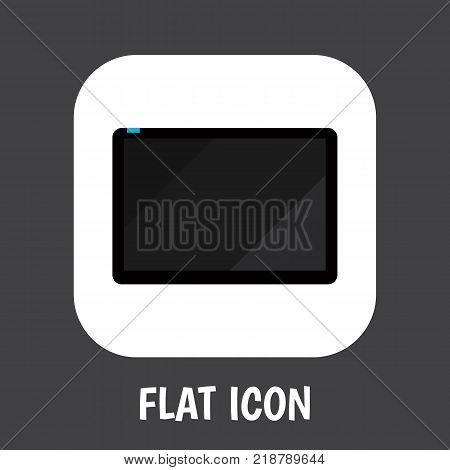 Vector illustration of home symbol on tablet icon flat. Premium quality isolated palmtop element in trendy flat style.