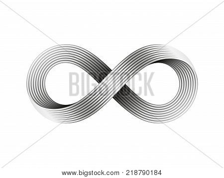 Infinity sign made of metal wire. Mobius strip symbol. Vector illustration on white background.