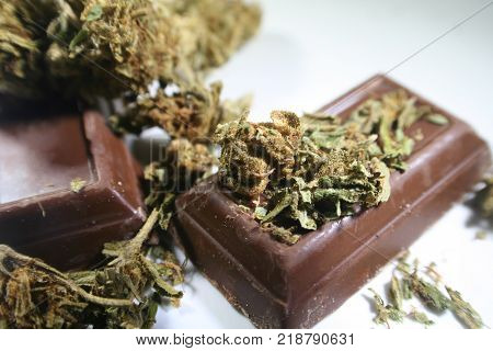 Marijuana Bud On Chocolate High Quality Stock Photo