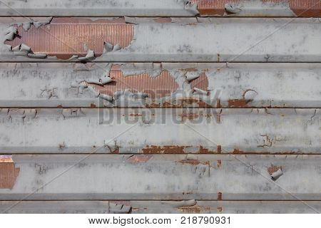 Detail Of Ruined Rolling Shutter With Grunge Effect Closed