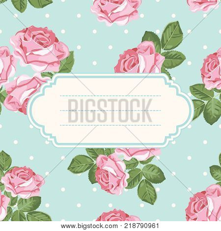 Shabby Chic Rose And Polka Dot Light Green Background With Blank Empty Frame Floral Card