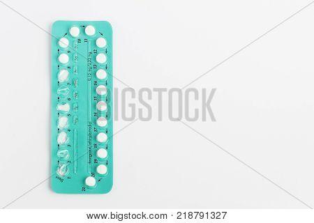 Contraception Pills On White Background.  Birth Control
