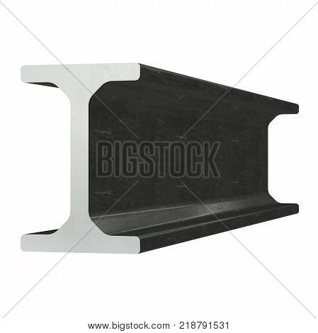 Steel metallurgy I-beam profile 3d render isolated on white background poster