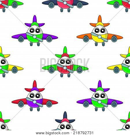 Cute Kids Aircraft Pattern For Girls And Boys. Colorful Aircraft On The Abstract Bright Background C
