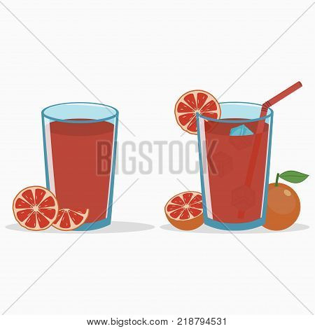 Grapefruit juice in a glass with grapefruit slice and half. Natural fresh citrus drink with straw and ice cube. Vector illustration.
