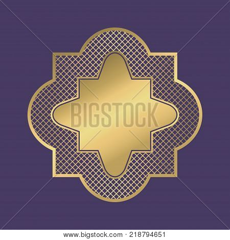 Gold geometric frame. Abstract ornamental blank banner in arabic style on violet background. Vector illustration.