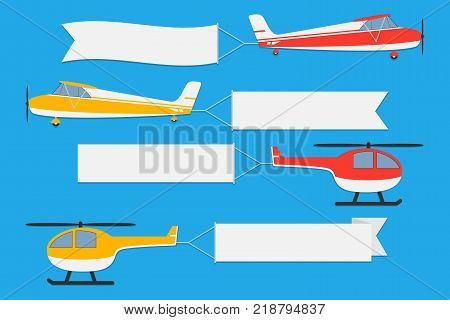 Flying planes and helicopters with banners. Set of advertising ribbons on blue background. Vector illustration.