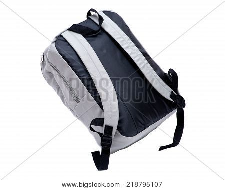 Grey water resistant nylon backpack isolated on white background