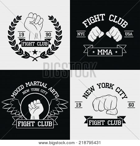 Fight Club graphics for t-shirt set. New York city, MMA, Mixed Martial Arts. Fighting typography for design clothes, logo, apparel. Sport print with fist, ribbon, wings and laurel wreath. Vector.