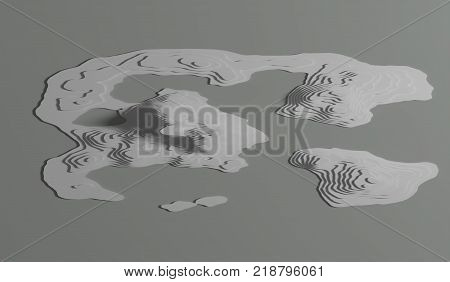 Rendered image. 3d Topological map of mountains and hills. Cartography and topology. illustration