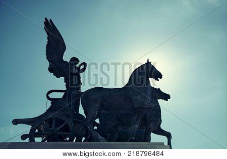 Statue closeup at rooftop of National Monument to Victor Emmanuel II or II Vittoriano in Piazza Venezia, Rome, Italy