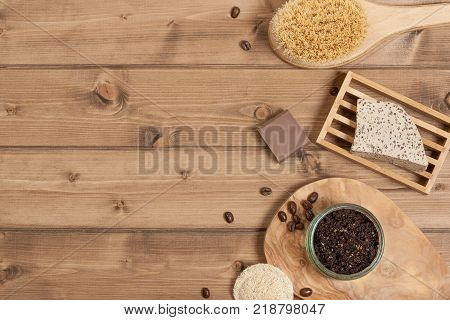 Handmade Coffee Scrub. Oat Soap. Luffa Sponge. Toiletries, Spa Set. Top View poster
