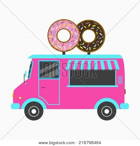 Donut truck. Fast food Bakery van with signboard in form of two tasty donuts. Vector illustration in flat style.