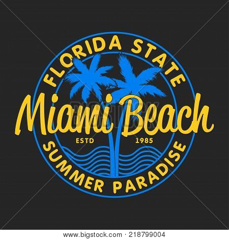 Miami Beach, Florida State - typography for design clothes, t-shirts with palm trees and waves. Graphics for print product, apparel. Vector illustration.