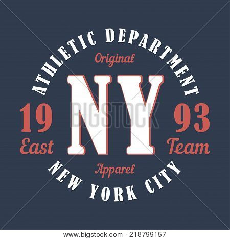 New York sports apparel. Typography emblem for t-shirt. Design for athletic clothes print. Vector illustration.