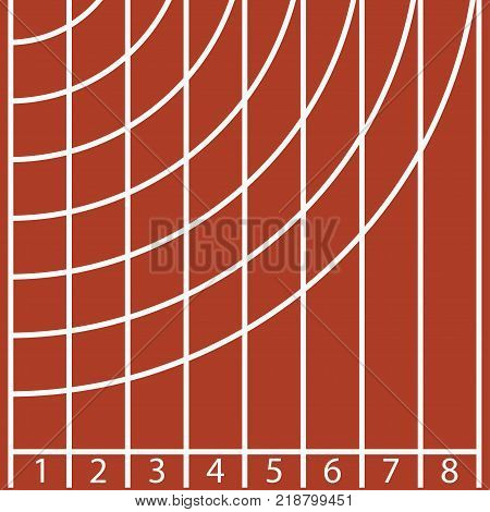 Start of a running track with number and line. Vector illustration.