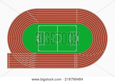 Running track and soccer or football field, top view of sport stadium. Vector illustration.
