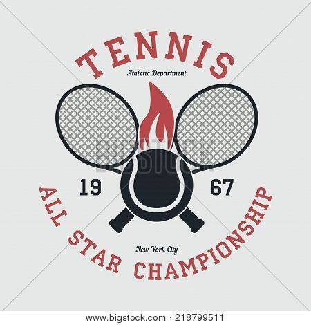 Tennis sports apparel with racket and fiery ball. New York all star championship. Typography emblem for t-shirt. Design for athletic clothes print. Vector illustration.