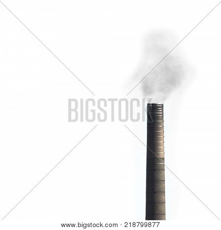 Smoke stack tower with some smoke above isolated with white background.