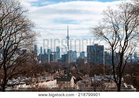 Toronto panoramic view from Casa Loma on winter